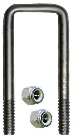 "5/8"" Square Stainless Steel Trailer U-Bolt, A=2 1/8"" B=7 1/4"" - Pacific Boat Trailers"