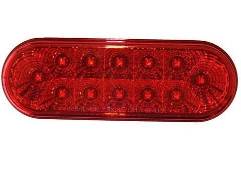 "LED Trailer 6 1/2"" Oval Stop/Tail/Turn Light, Miro-Flex, Sealed, 12-diodes 64120RK - Pacific Boat Trailers"