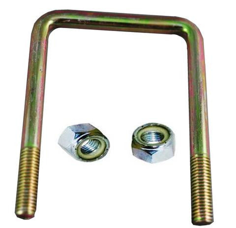 "1/2"" Square Zinc Plated Trailer U-Bolt w/lock nuts A=3 1/2"" B=5 1/2"" - Pacific Boat Trailers"