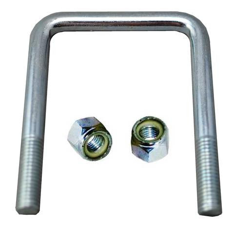 "Square Trailer U-Bolt - Zinc Plated Steel - 3 1/8"" wide x 4 1/4"" tall x 1/2"" Diameter - Pacific Boat Trailers"