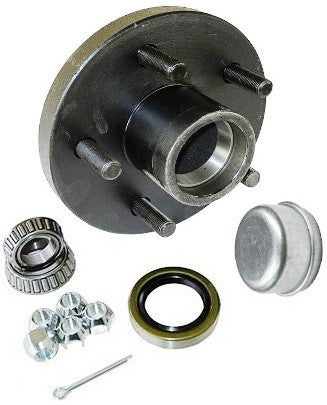 "Trailer Wheel Hub KIT for 2500lb. axles - L44649 Bearings - 5 on 4.5"" #PT5X45HUBKIT25KSTS - Pacific Boat Trailers"