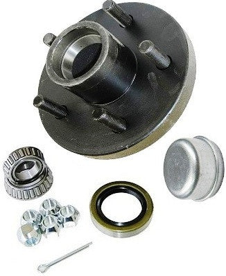 "Trailer Wheel Hub KIT for 2000lb. axles - L44643 Bearings - 5 on 4.5"" #PT5X45HUBKIT2KSTS - Pacific Boat Trailers"