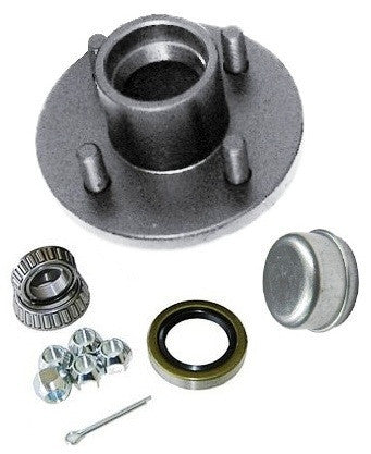 "Trailer Wheel Hub KIT for 2000lb. axles - L44643 Bearings - 4 on 4"" #PT4X4HUBKIT2KSTS - Pacific Boat Trailers"