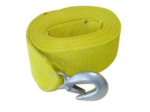 "3"" x 15' Yellow Trailer Winch Strap w/ Loop End - Pacific Boat Trailers"