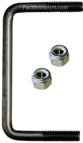 "1/2"" Square Stainless Steel Trailer U-Bolt, A=5 1/8"" B=3"" - Pacific Boat Trailers"