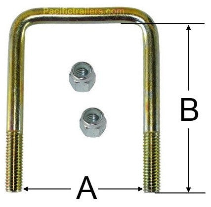 "1/2"" Square Zinc Plated Trailer U-Bolt w/lock nuts A=2 1/8"" B=6 3/4 - Pacific Boat Trailers"