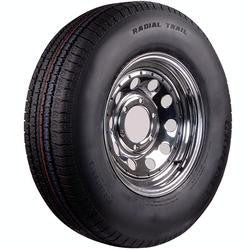 ST205/75R-14C Chrome Wheel & Radial Tire. #38483 - Pacific Boat Trailers
