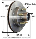 "Trailer Disc Brake Rotor, UFP DB-35 - 9.75"" Zinc Plated 5 on 4.5""-3.7K. #41019 - Pacific Boat Trailers"