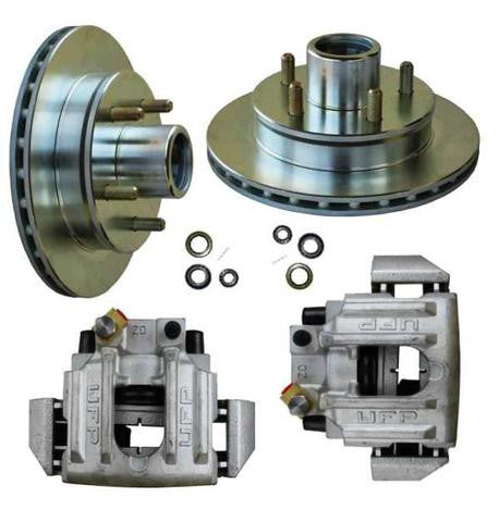 UFP DB-35 Disc Brake Kit - Silver Zinc Plated Rotors w/ Aluminum Calipers #UKIT25 - Pacific Boat Trailers