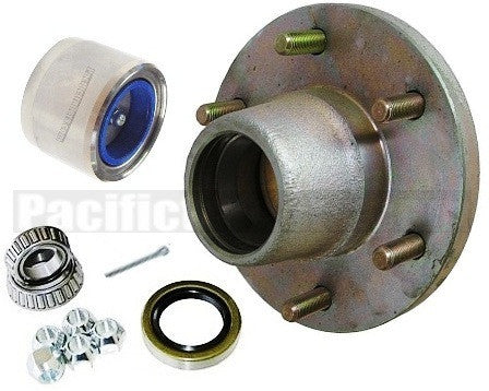 "Plated Trailer Hub KIT, 5200-6000lb. axles, 25580/67048 Bearings - 6""/5.5"" - Pacific Boat Trailers"