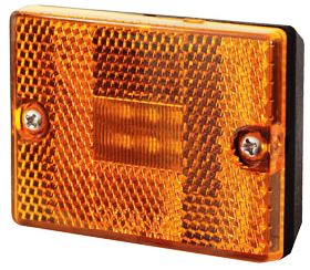 Square, Stud Mount LED Trailer Clearance/Marker Light w/Reflector - Amber - Pacific Boat Trailers