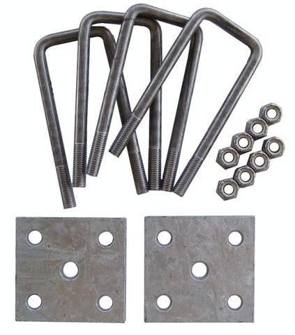"Axle Tie Plate Kit with 6 3/4"" Long, Square Stainless Steel U-Bolts - Pacific Boat Trailers"