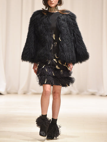 Black Mongolian Fur Coat