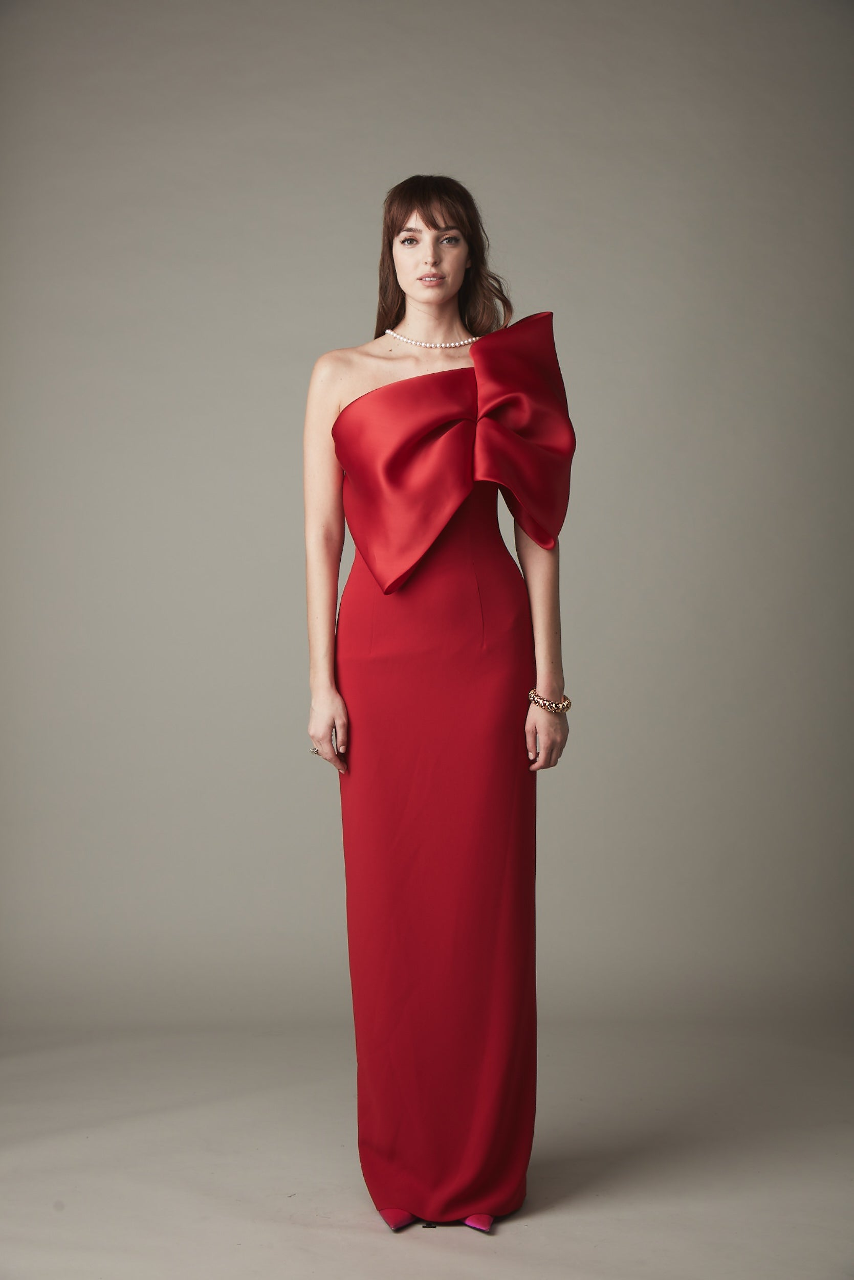 One Shoulder Bow Front Gown - Ruby Red