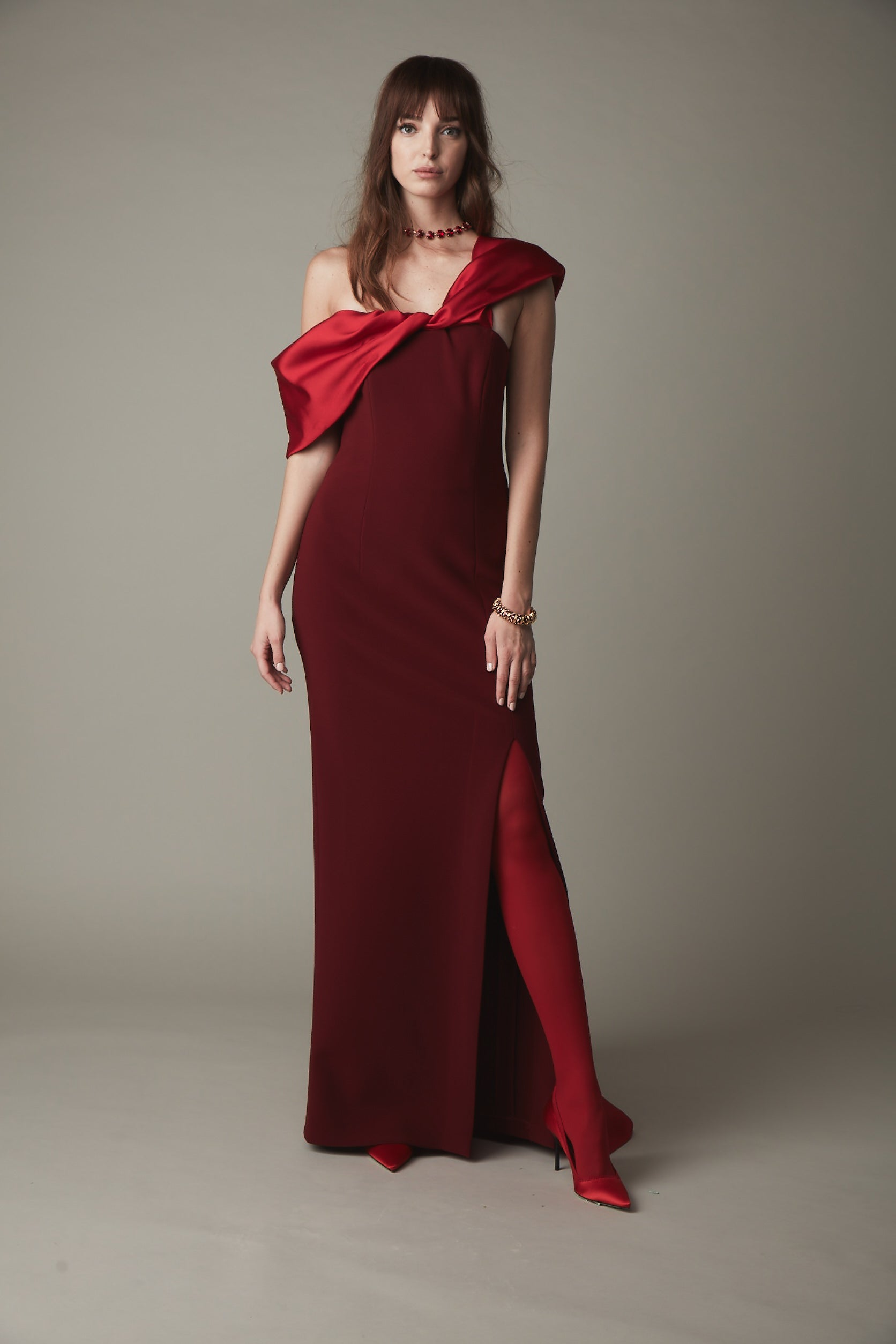 Off the Shoulder Gown with Detachable Train - Bordeaux