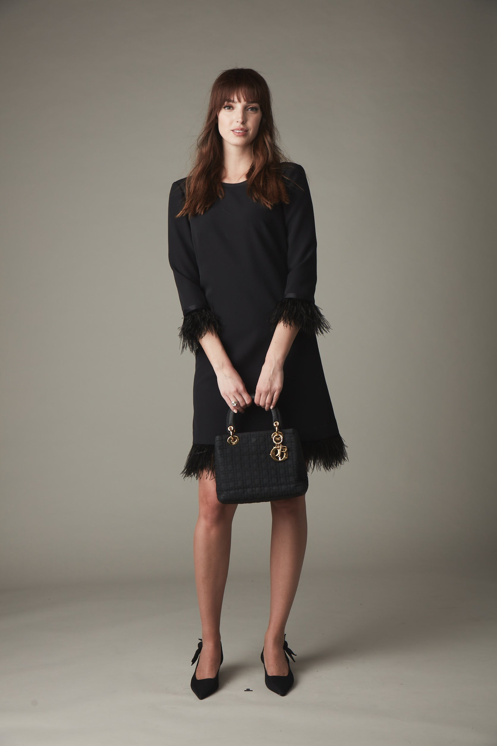 KN Bette Feather Crepe Dress- Black & Pink