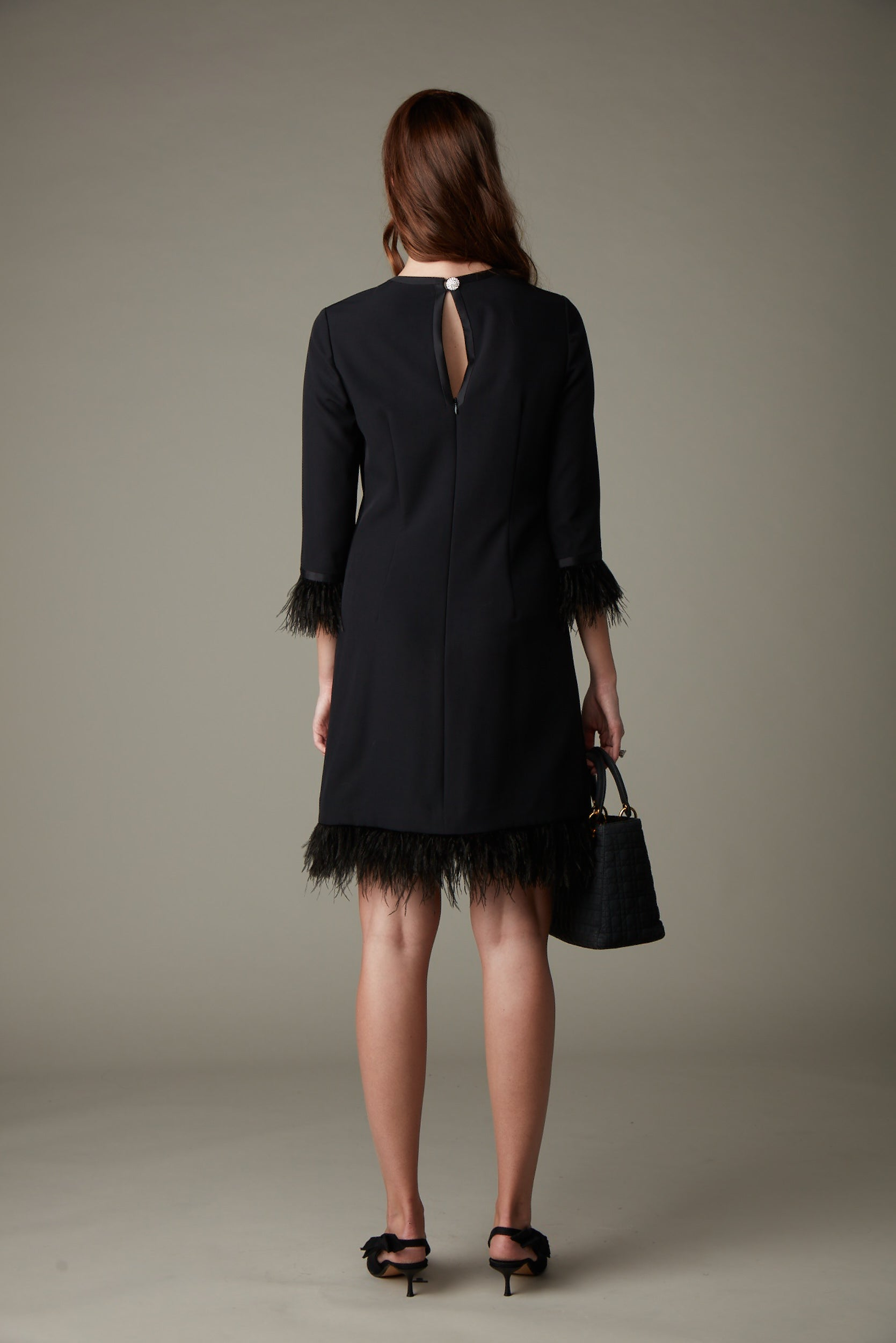 Bette Feather Crepe Dress- Black