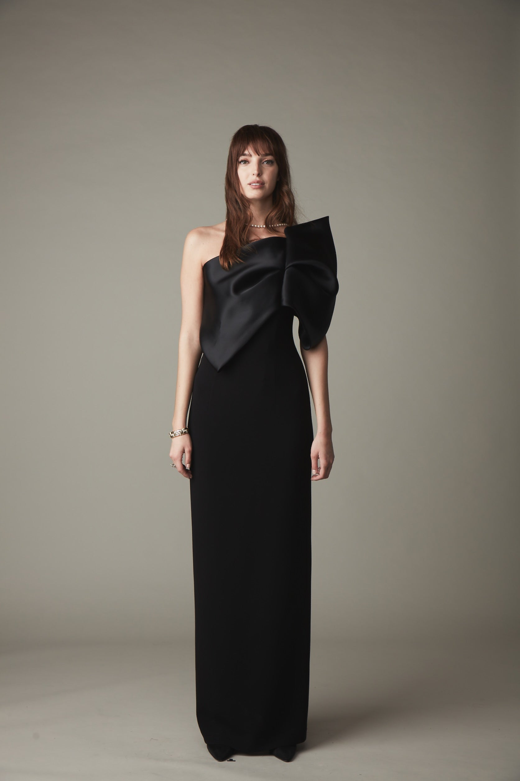 KN One Shoulder Bow Front Gown - Black