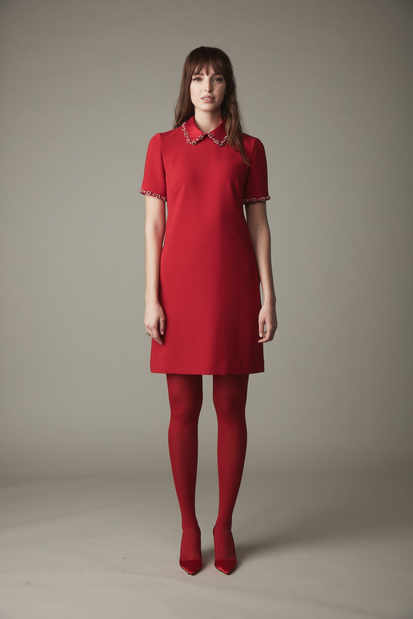 A-Line Jewel Collar Dress - Ruby Red