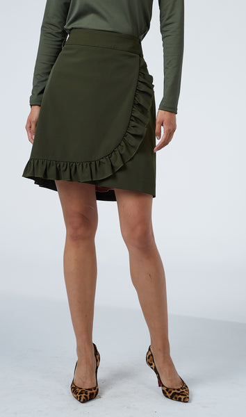 Ruffle Front Skirt - Olive