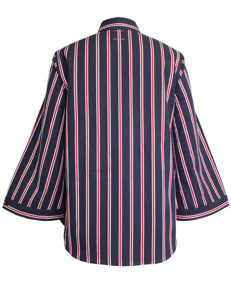 Navy & Red 3/4 Bell Sleeve Shirt