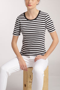 White/Navy Stripe Essential Crew Tee