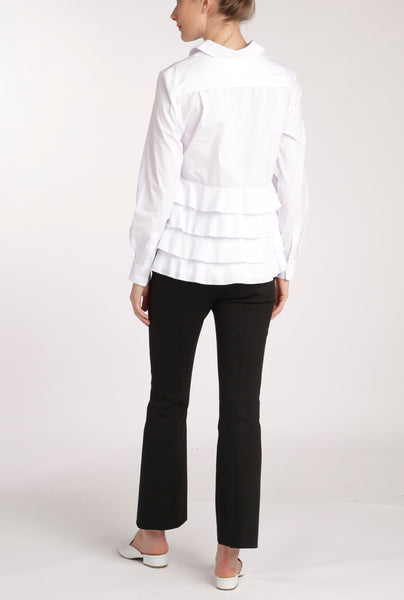 White Ruffle Back Shirt