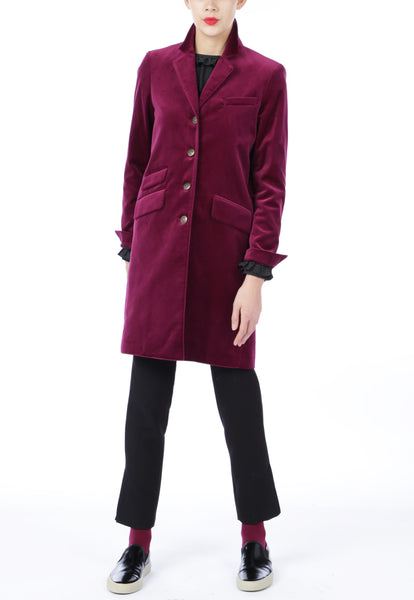 Berry Velvet Coat