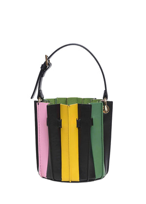 Sara Battaglia Plisse Mini Bucket Black Rainbow