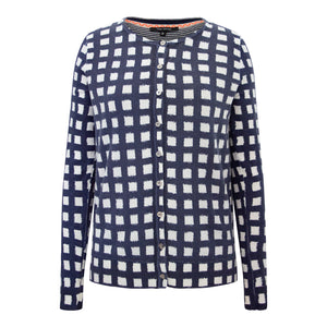 Crew Neck Cardi - Navy Check
