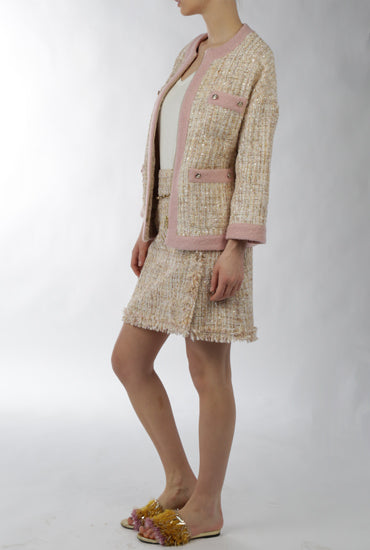 Gold/Pink Tweed Skirt