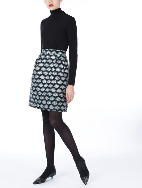 Black & Silver Jacquard Skirt