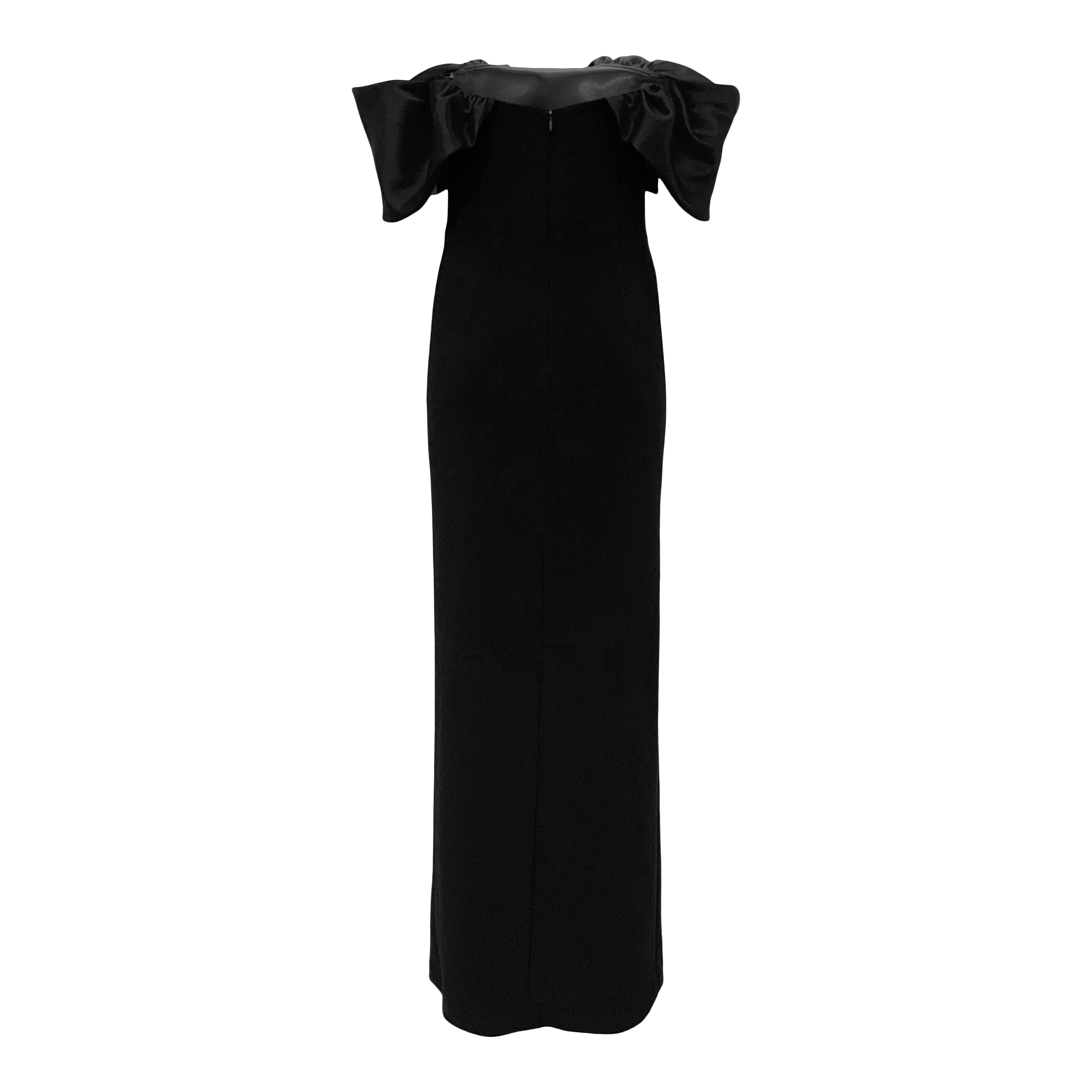 Off the Shoulder Gown with Detachable Train - Black