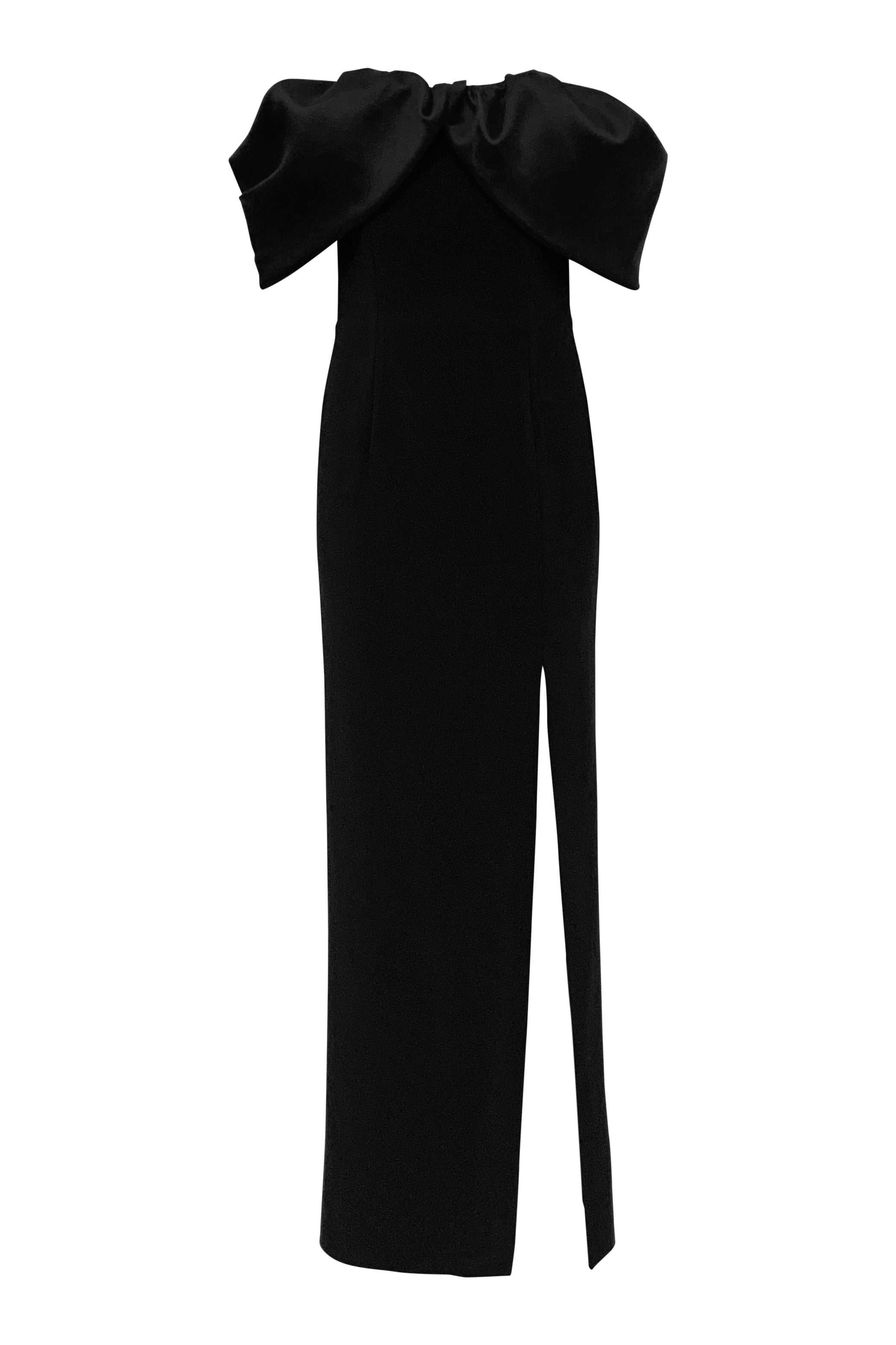 KN Off the Shoulder Gown with Detachable Train - Black