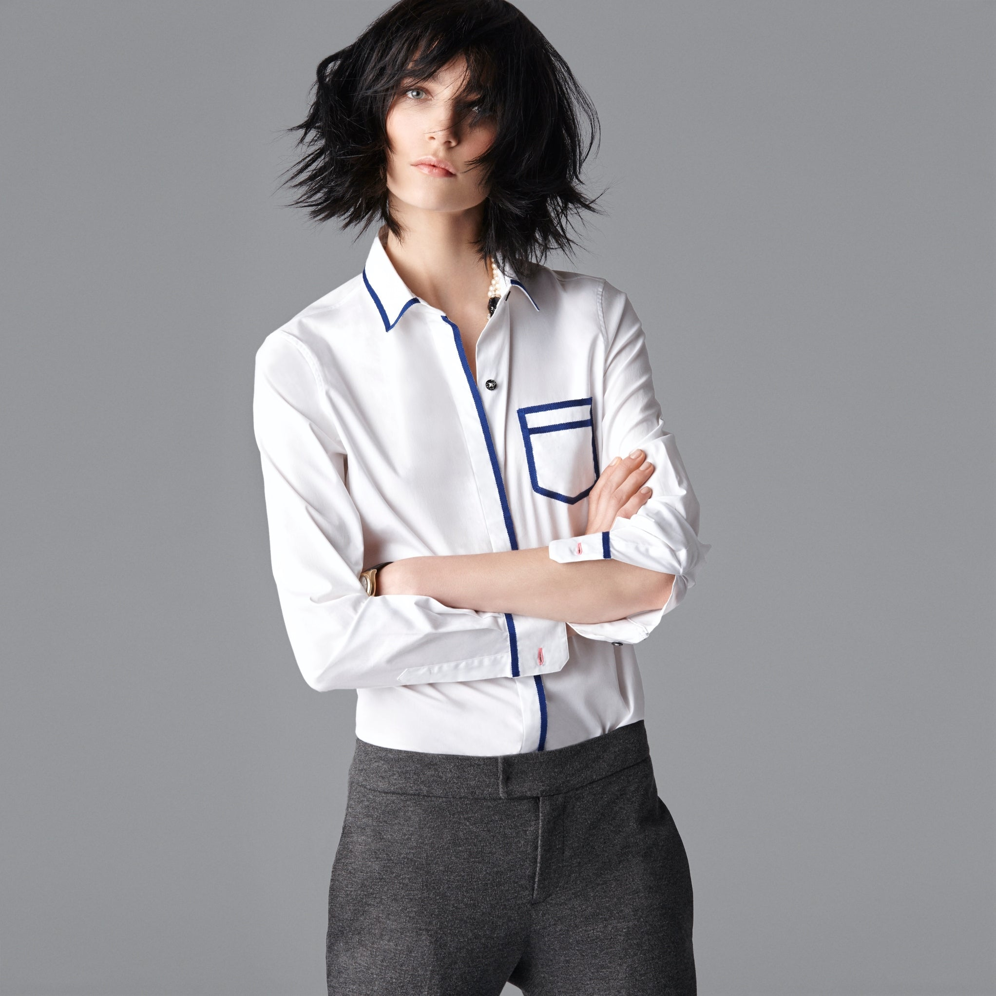 Pique Trompe L'oeil Shirt - White/Grey