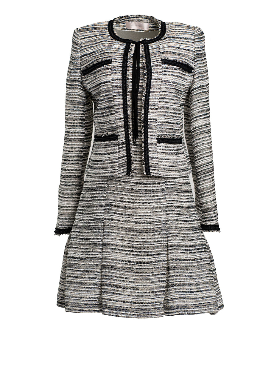 Fringe Jacket Contrast Trim with Sleeveless Dress