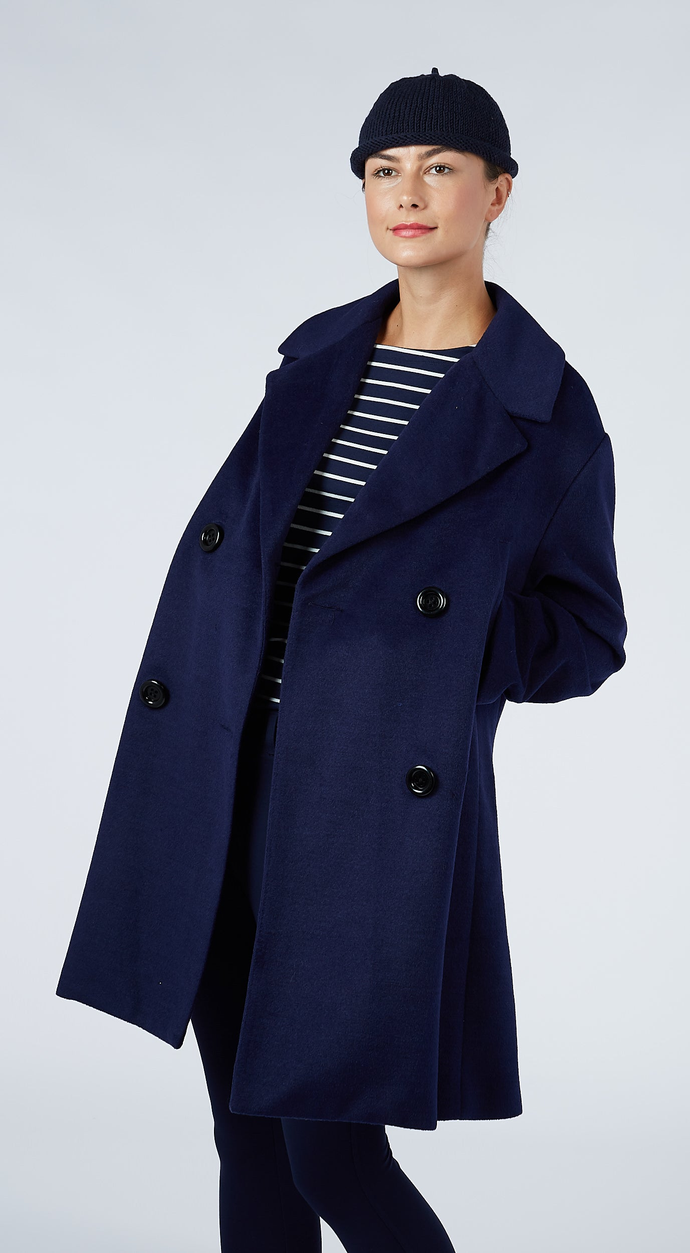 A-Line Sailor Coat - Navy