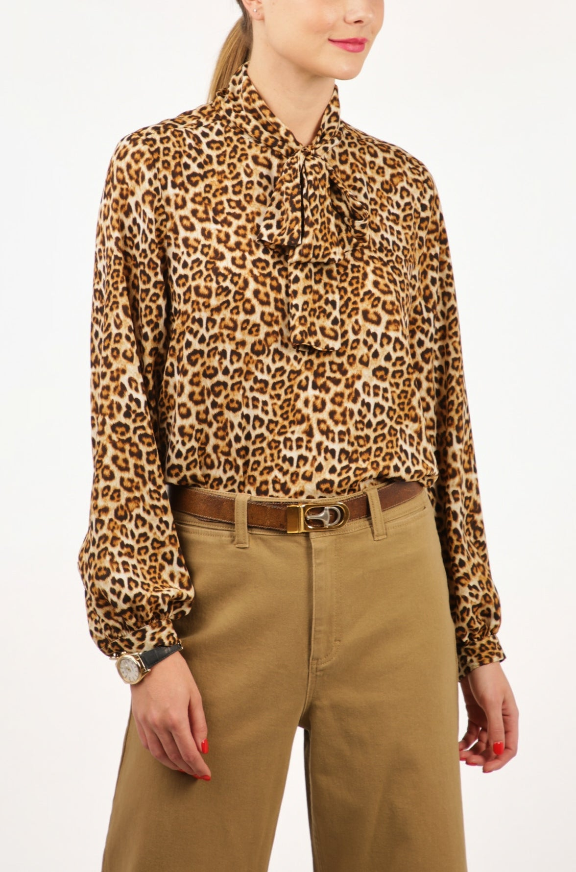 Pussy Bow Tie Blouse - Tan Leopard