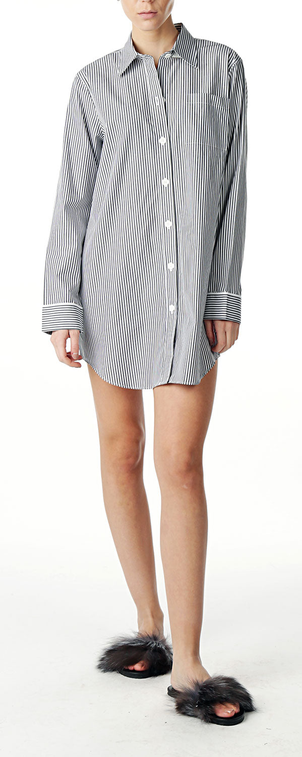Long Tunic Shirt - Black&White Stripe