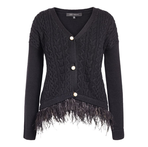 Feather Trim Cardigan - Black