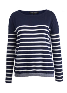Navy/White Stripe Crew Sweater