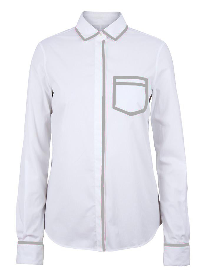 Trompe L'oeil Shirt - White/Grey