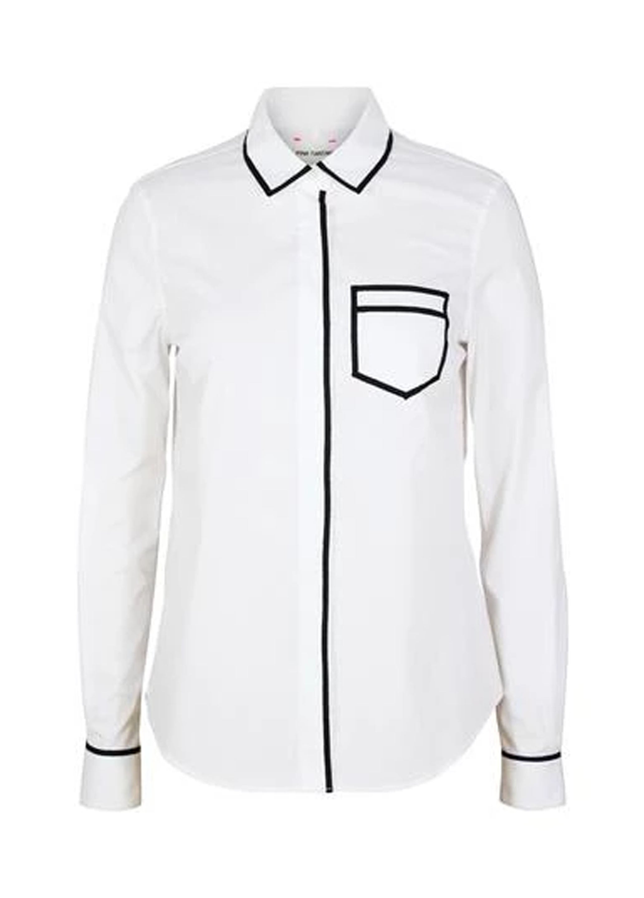 Pique Trompe L'oeil Shirt - White/Black