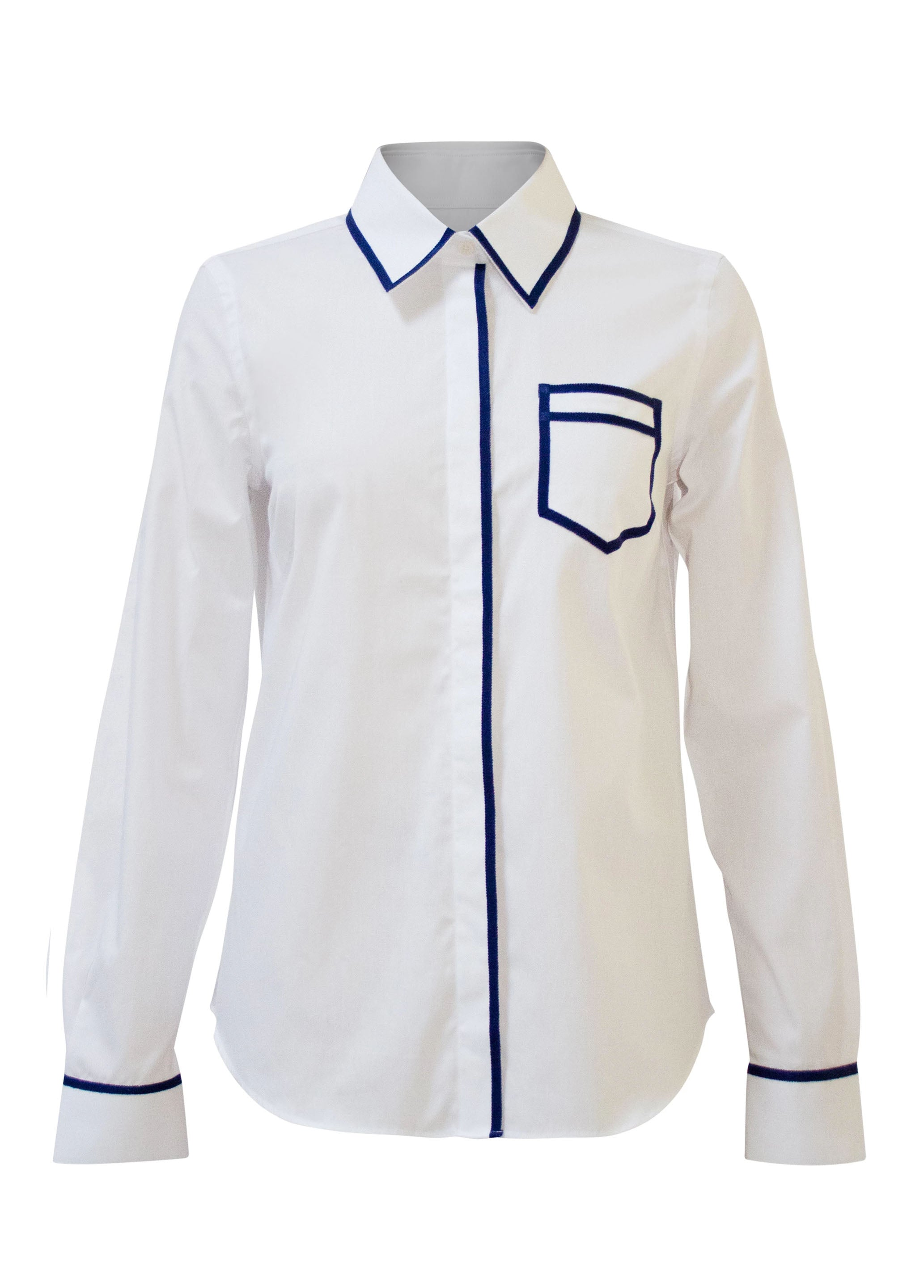 Twill Trompe L'Oeil Shirt - White / Blue