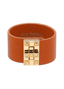 Leather Studded Cuff - Luggage