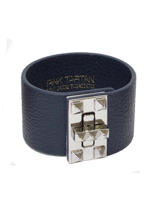 Leather Studded Cuff - Navy