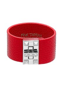 Leather Studded Cuff - Ruby