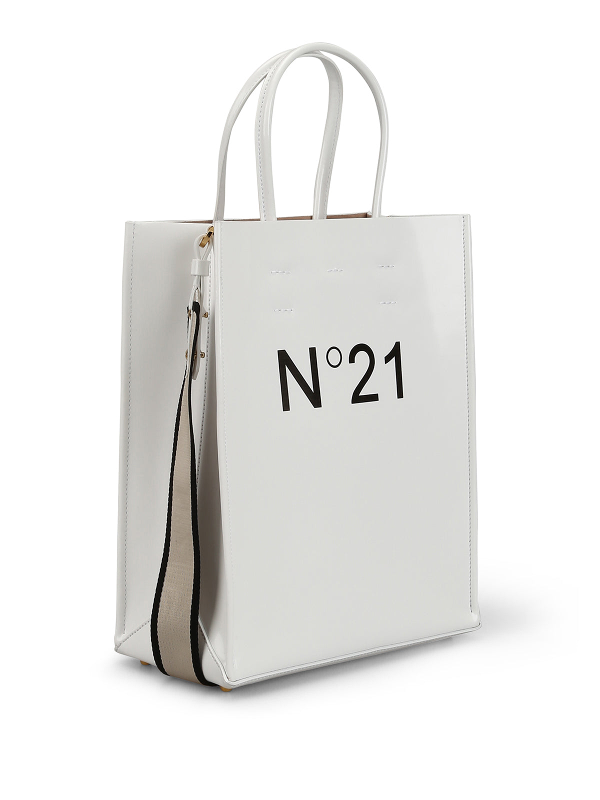 N21 Silver Shopping Bag / Logo Tote Small in White