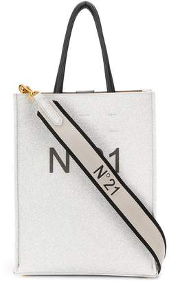 N21 Silver Shopping Bag / Logo Tote Large in glitter