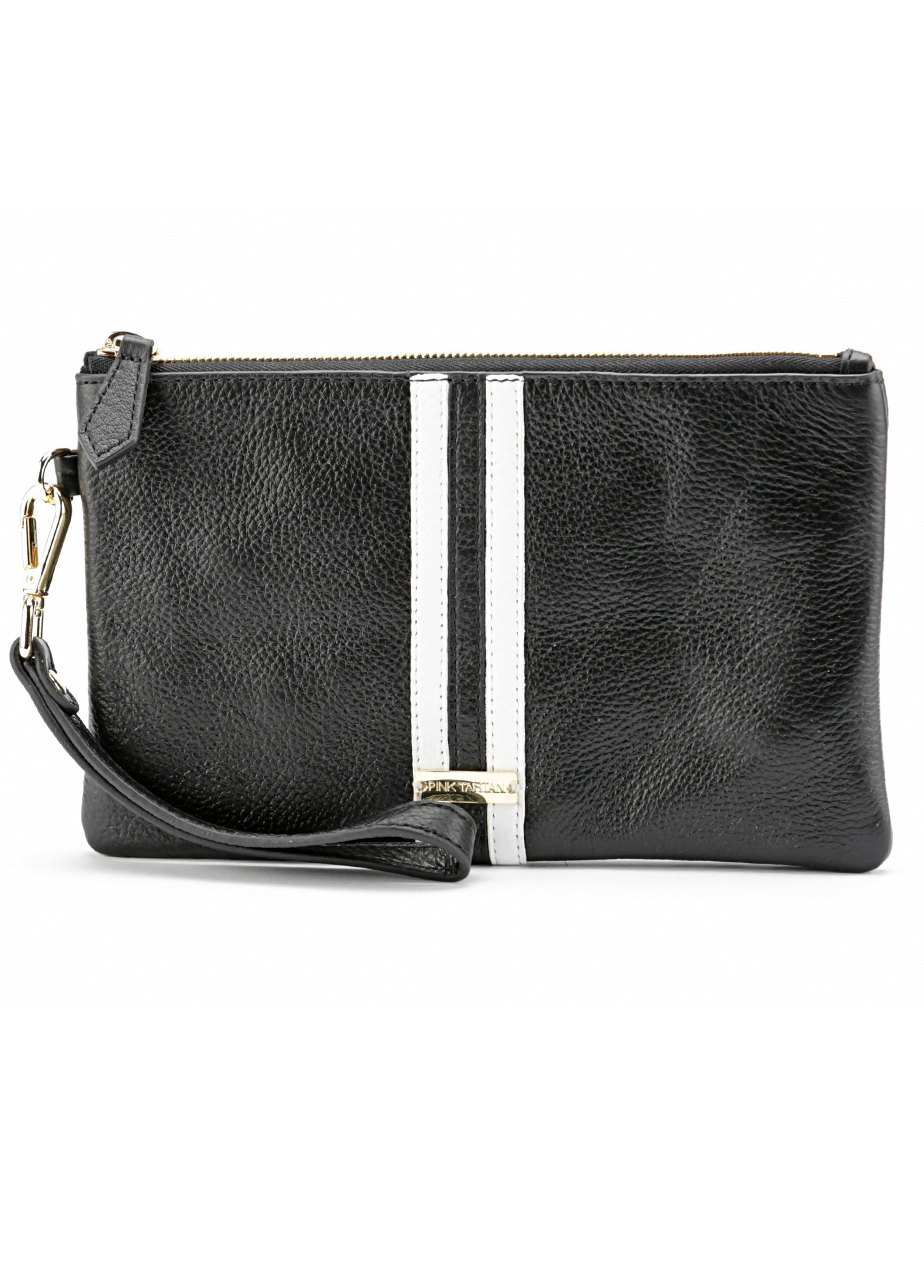 Wristlet Pebble Leather - Black & White